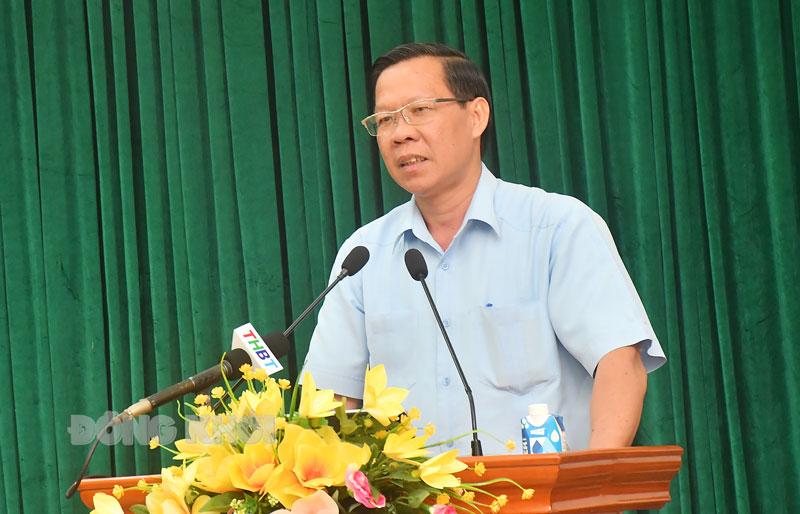 Phát biểu của Bí thư Tỉnh ủy Phan Văn Mãi. Ảnh: Hữu Hiệp
