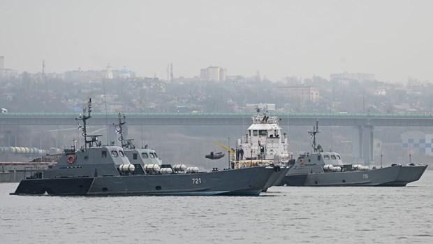 Các tàu đổ bộ của Hải quân Nga. (Ảnh: Reuters)