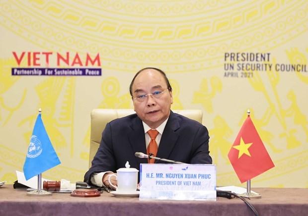 Chủ tịch nước Nguyễn Xuân Phúc tại phiên họp. Ảnh: Thống Nhất/TTXVN