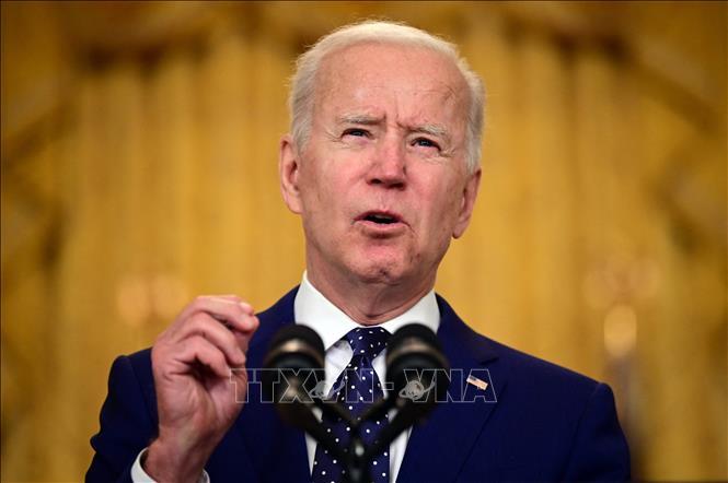 Tổng thống Mỹ Joe Biden phát biểu tại Nhà Trắng ngày 15-4-2021. Ảnh: AFP/TTXVN