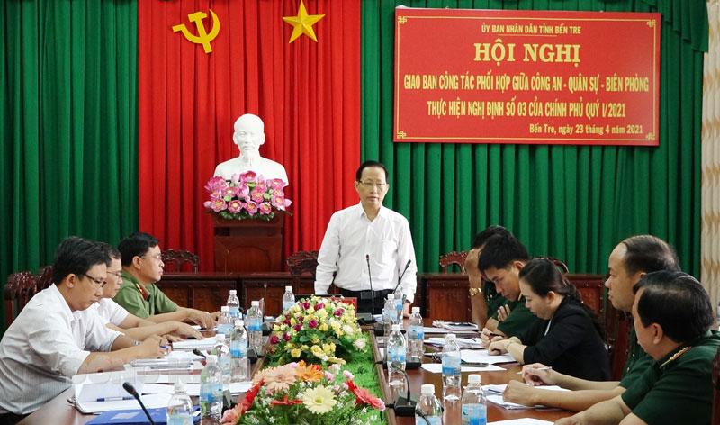 Phó chủ tịch thường trực UBND tỉnh Nguyễn Trúc Sơn phát biểu chỉ đạo hội nghị.