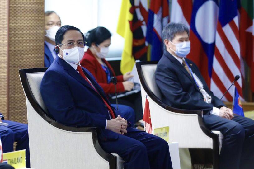 Thủ tướng Chính phủ Phạm Minh Chính dự Hội nghị các nhà Lãnh đạo ASEAN, chiều 24-4-2021- Ảnh: VGP/Nhật Bắc