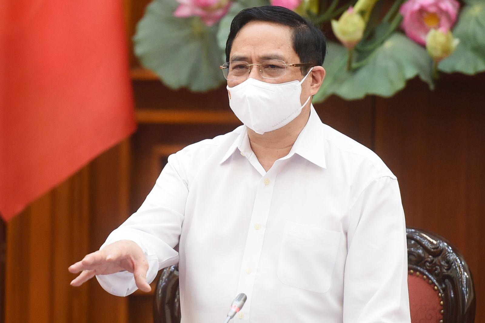Thủ tướng Chính phủ Phạm Minh Chính phát biểu kết luận cuộc họp ngày 30-4-2021. Ảnh: VGP