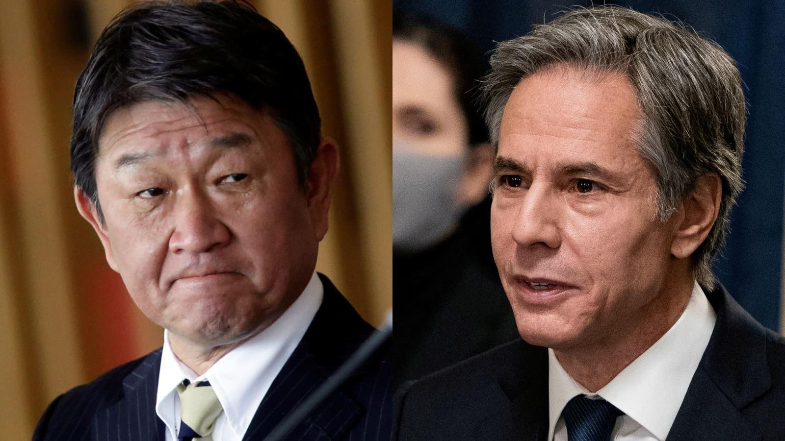 Ông Toshimitsu Motegi (trái) và ông Antony Blinken. Ảnh: Reuters
