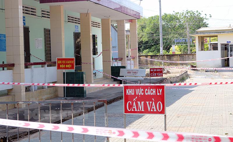 Địa điểm cách ly tập trung tại Trung tâm Y tế huyện Bình Đại.