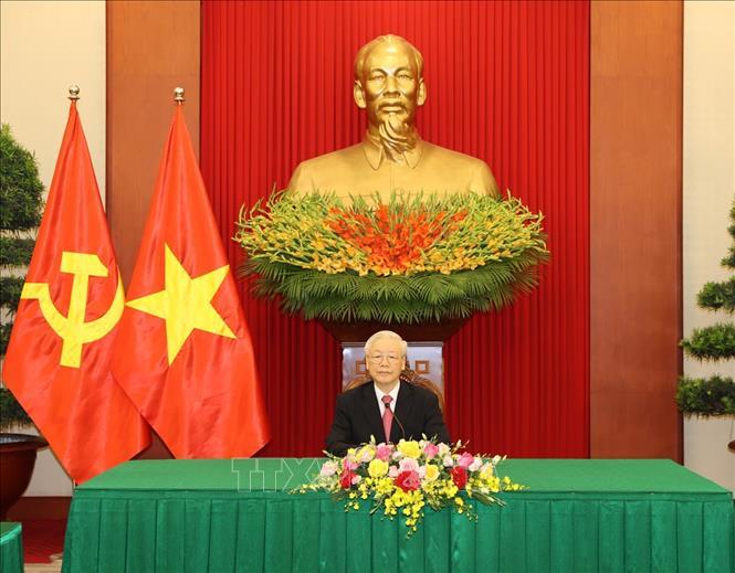 Tổng Bí thư Nguyễn Phú Trọng đã có cuộc điện đàm với đồng chí Miguel Díaz-Canel Bermudez, Bí thư thứ nhất Ban Chấp hành Trung ương Đảng Cộng sản Cuba, Chủ tịch nước Cộng hòa Cuba. Ảnh TTXVN