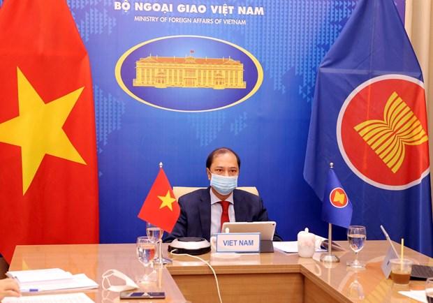 Thứ trưởng Bộ Ngoại giao Nguyễn Quốc Dũng dự Đối thoại ASEAN-Hoa Kỳ lần thứ 34 theo hình thức trực tuyến. (Ảnh: Phạm Kiên/TTXVN)