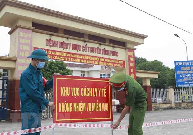 Bệnh viện Y Dược cổ truyền Vĩnh Phúc, xã Định Trung, thành phố Vĩnh Yên được cách ly y tế để phòng chống dịch COVID-19. (Ảnh: Hoàng Hùng/TTXVN)