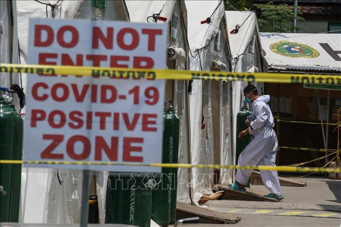 Khu vực điều trị cho bệnh nhân nhiễm COVID-19 tại Manila, Philippines. Ảnh: AFP/TTXVN