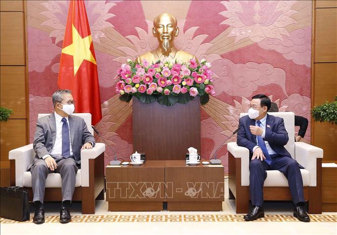 Chủ tịch Quốc hội Vương Đình Huệ với Đại sứ Yamada Takio tại buổi tiếp. Ảnh: Doãn Tấn/TTXVN
