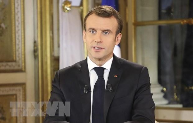 Tổng thống Pháp Emmanuel Macron kêu gọi Israel và Palestine chấm dứt các hành động thù địch và nhất trí ngừng bắn. (Ảnh: AFP/TTXVN)