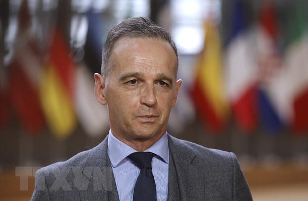 Ngoại trưởng Đức Heiko Maas phát biểu với báo giới tại Brussels, Bỉ, ngày 10-5-2021. Ảnh: AFP/TTXVN