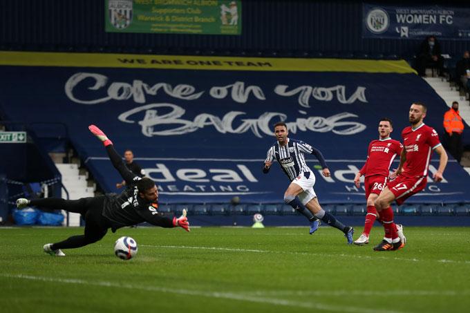 Robson-Kanu mở tỷ số trận West Brom vs Liverpool ở phút 15