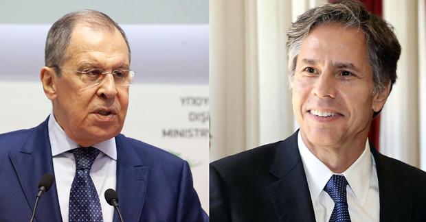 Ngoại trưởng Nga Sergei Lavrov (phải) cùng người đồng cấp Mỹ Antony Blinken. (Nguồn: Xinhua)