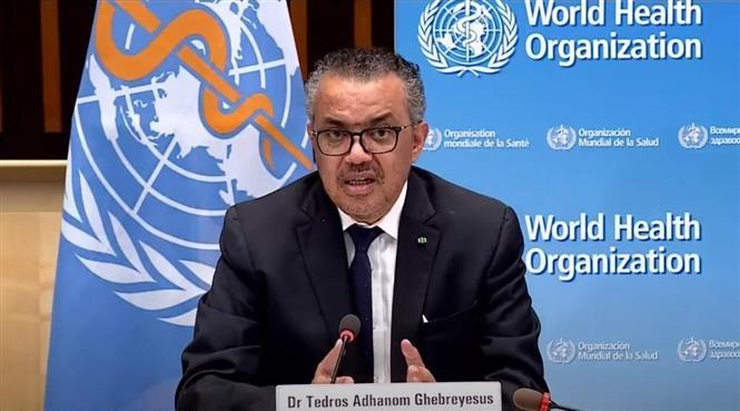 Tổng Giám đốc WHO Tedros Adhanom Ghebreyesus tại cuộc họp báo ở Geneva, Thụy Sĩ. Ảnh: THX/TTXVN
