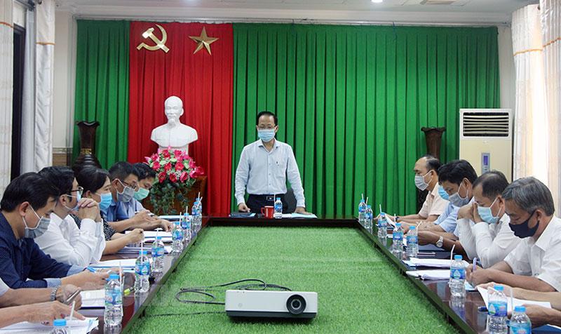 Phó chủ tịch Thường trực UBND tỉnh Nguyễn Trúc Sơn phát biểu tại buổi làm việc.