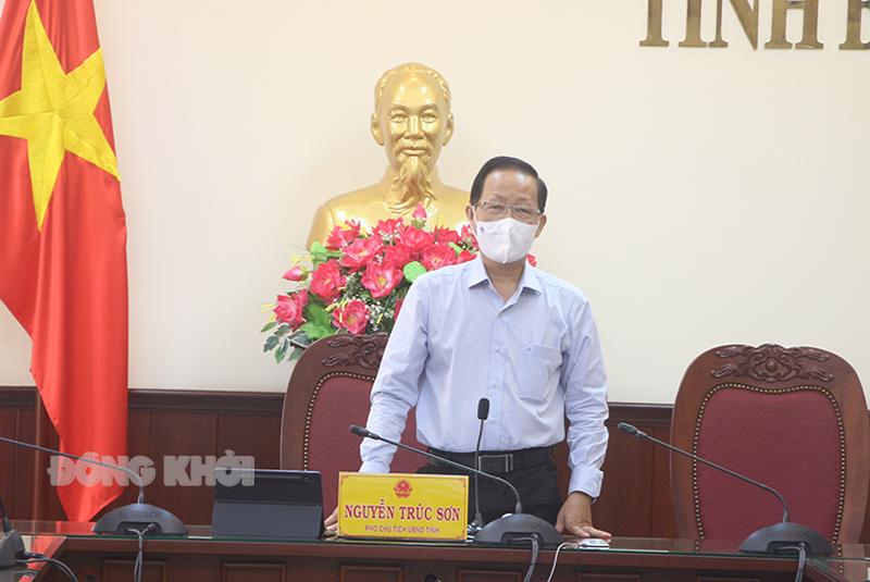 Phó chủ tịch Thường trực UBND tỉnh Nguyễn Trúc Sơn phát biểu tại cuộc họp.