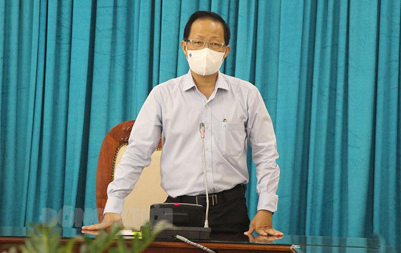 Phó chủ tịch Thường trực UBND tỉnh Nguyễn Trúc Sơn phát biểu chỉ đạo tại buổi làm việc.