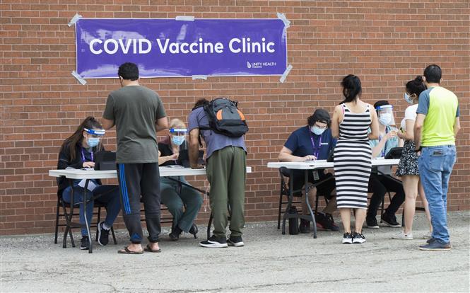 Người dân đăng ký tiêm vaccine phòng COVID-19 tại Toronto, Canada, ngày 26-5-2021. Ảnh: THX/ TTXVN