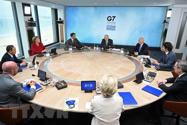 Lãnh đạo Nhóm các nước công nghiệp phát triển hàng đầu thế giới (G7) tham dự Hội nghị thượng đỉnh G7 ở vịnh Carbis, Cornwall, Anh ngày 11-6-2021. Ảnh: AFP/TTXVN
