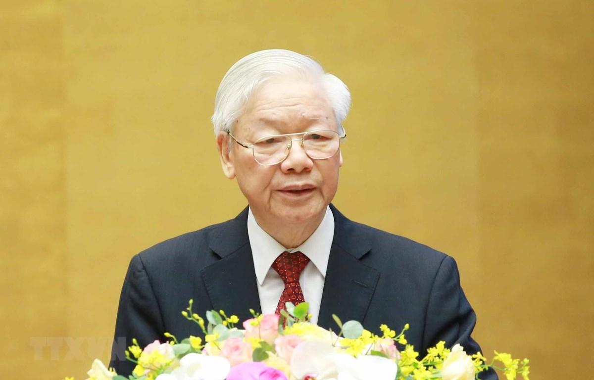 Tổng Bí thư Nguyễn Phú Trọng phát biểu chỉ đạo Hội nghị. Ảnh: Phương Hoa/TTXVN