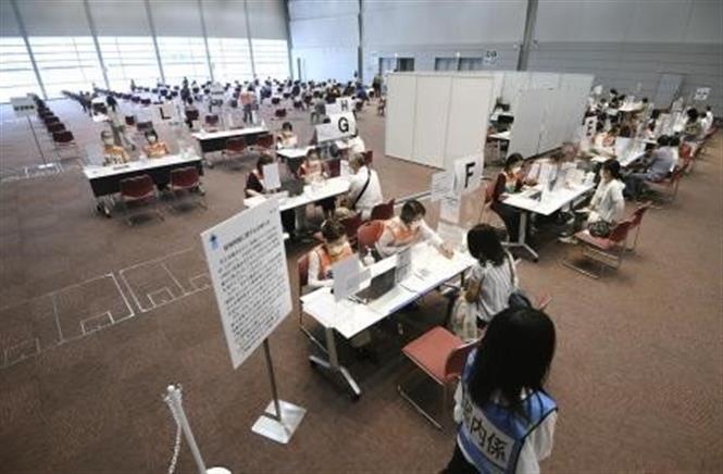 Một điểm tiêm vaccine phòng COVID-19 tại Osaka, Nhật Bản, ngày 9-6-2021. Ảnh: Kyodo/ TTXVN