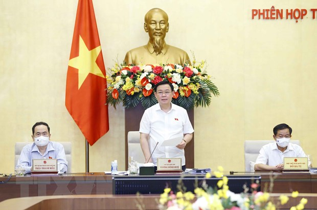 Chủ tịch Quốc hội Vương Đình Huệ phát biểu bế mạc. Ảnh: Doãn Tấn/TTXVN