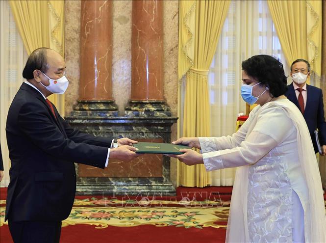 Chủ tịch nước Nguyễn Xuân Phúc tiếp Đại sứ Pakistan Samina Mehtab. Ảnh: TTXVN