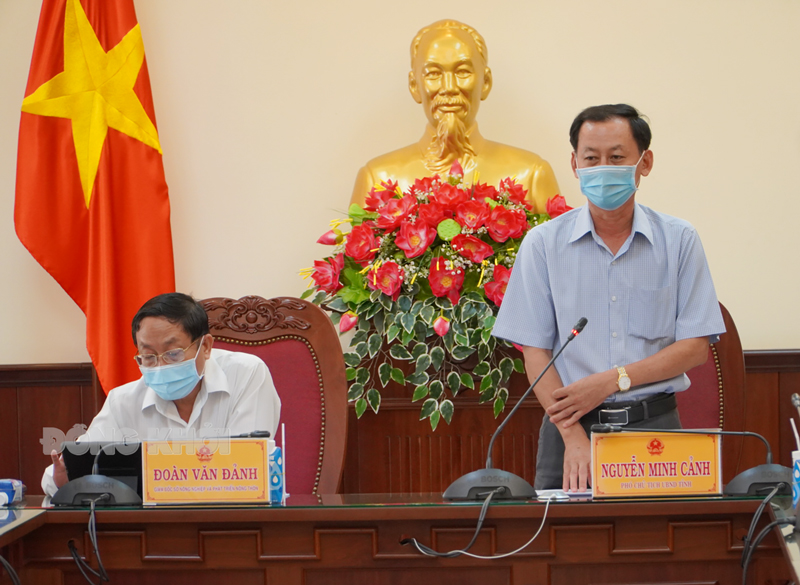 Phó chủ tịch UBND tỉnh Nguyễn Minh Cảnh phát biểu tại hội nghị.