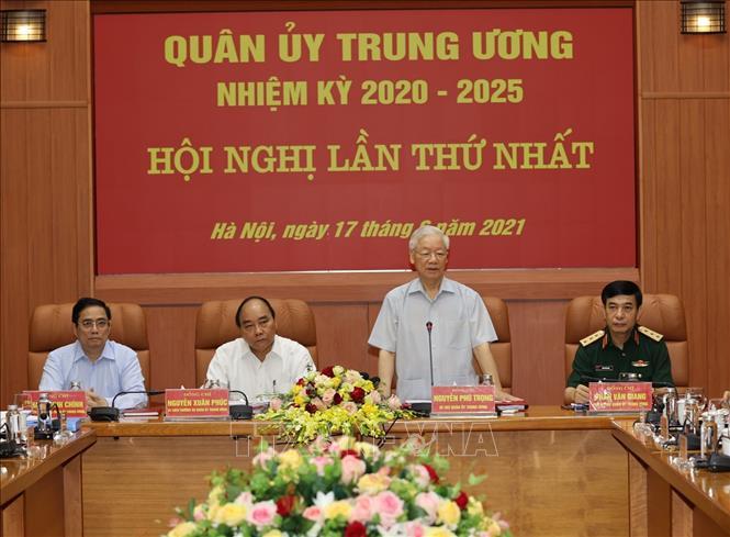 Tổng Bí thư Nguyễn Phú Trọng, Bí thư Quân ủy Trung ương phát biểu chỉ đạo Hội nghị. Ảnh: Trí Dũng/TTXVN