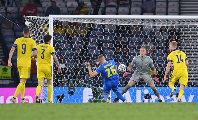 Dovbyk ấn định tỷ số 2-1 ở phút bù giờ đầu tiên của hiệp phụ thứ 2