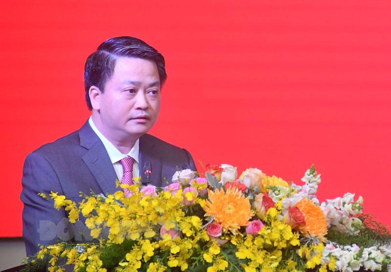 Tân Bí thư Tỉnh ủy Bến Tre Lê Đức Thọ phát biểu.