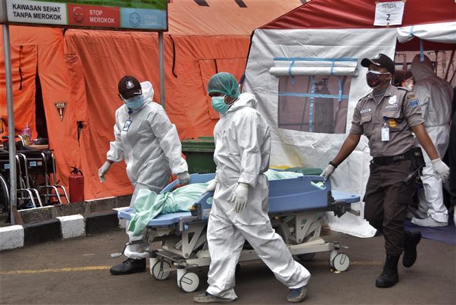 Nhân viên y tế chuyển bệnh nhân tử vong do COVID-19 tại bệnh viện ở Bekasi, Indonesia, ngày 1-7-2021. Ảnh: AFP/TTXVN
