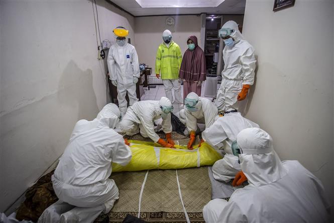 Nhân viên y tế chuyển thi thể bệnh nhân tử vong do COVID_19 tại Bogor, Tây Java, Indonesia, ngày 6-7-2021. Ảnh: AFP/TTXVN