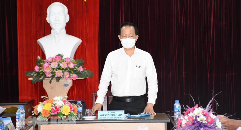 Phó chủ tịch Thường trực UBND tỉnh Nguyễn Trúc Sơn phát biểu tại cuộc họp