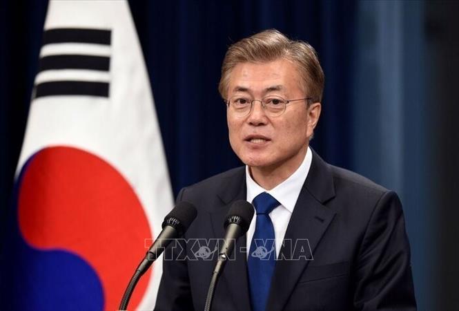 Tổng thống Hàn Quốc Moon Jae-in trong bài phát biểu tại thủ đô Seoul. Ảnh: IRNA/TTXVN