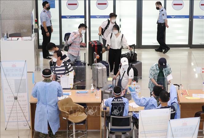 Khu vực kiểm dịch được thiết lập đối với hành khách tại sân bay quốc tế Incheon, phía Tây Seoul, Hàn Quốc ngày 20-7-2021. Ảnh: YONHAP/TTXVN