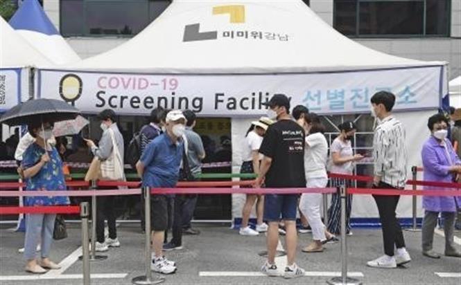Một điểm lấy mẫu xét nghiệm COVID-19 tại Soeul, Hàn Quốc ngày 9-7-2021. Ảnh: Kyodo/TTXVN