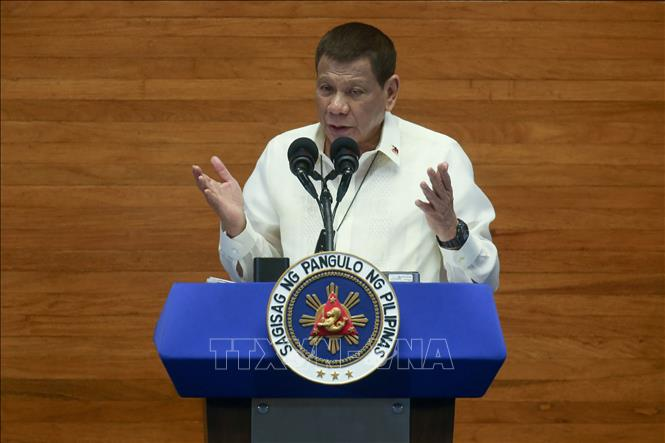 Tổng thống Philippines Rodrigo Duterte phát biểu tại Manila, Philippines. Ảnh: AFP/TTXVN
