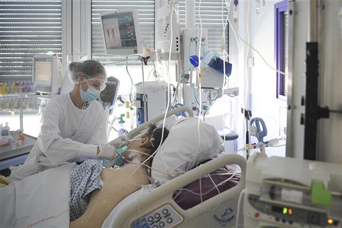Nhân viên y tế điều trị cho bệnh nhân COVID-19 tại một bệnh viện ở Mulhouse, Pháp. Ảnh: AFP/TTXVN