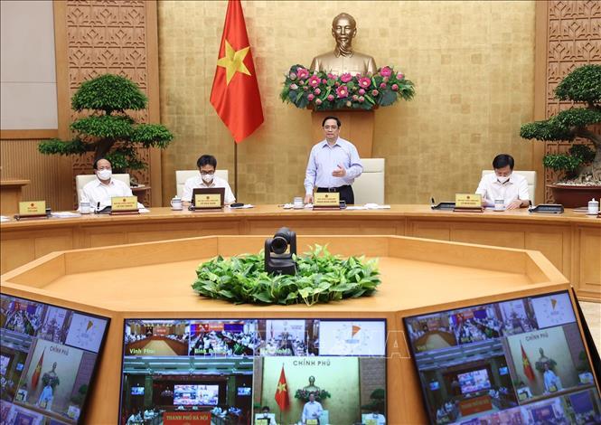 Quang cảnh Hội nghị trực tuyến tại điểm cầu Chính phủ.
