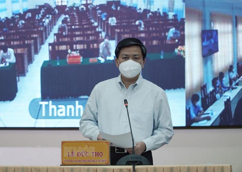 Bí thư Tỉnh ủy Lê Đức Thọ phát biểu chỉ đạo hội nghị.