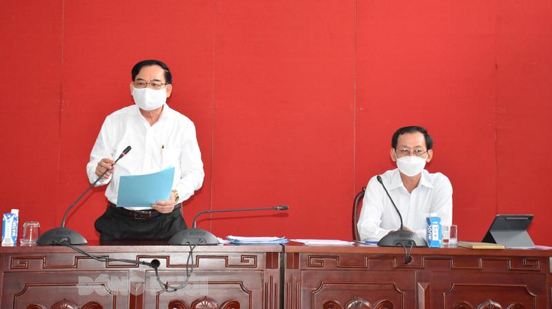 Chủ tịch UBND tỉnh Trần Ngọc Tam phát biểu tại buổi làm việc.