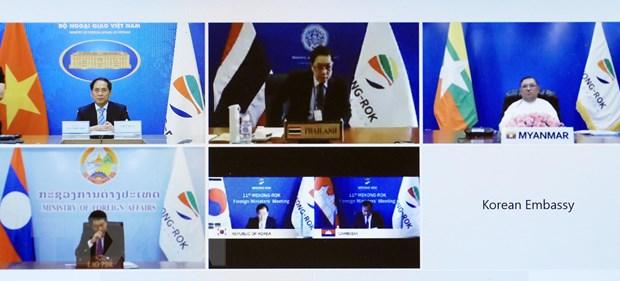 Bộ trưởng Bộ Ngoại giao Bùi Thanh Sơn và các đại biểu dự Hội nghị Bộ trưởng Mekong - Hàn Quốc lần thứ 11 theo hình thức trực tuyến. Ảnh: Lâm Khánh/TTXVN