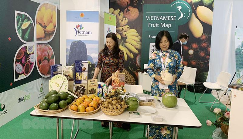 Gian hàng trưng bày sản phẩm của các doanh nghiệp Việt Nam.