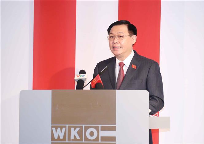 Chủ tịch Quốc hội Vương Đình Huệ dự Diễn đàn Doanh nghiệp Việt - Áo. Ảnh: Doãn Tấn/TTXVN