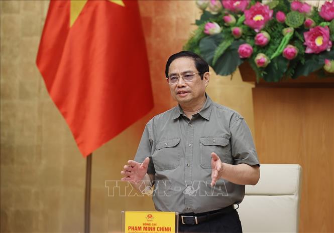 Thủ tướng Phạm Minh Chính chủ trì cuộc họp. Ảnh: Dương Giang/TTXVN