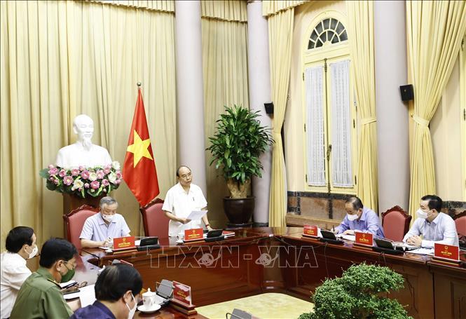Chủ tịch nước Nguyễn Xuân Phúc phát biểu. Ảnh: Thống Nhất/TTXVN