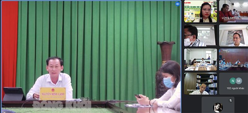 Phó chủ tịch UBND tỉnh Nguyễn Minh Cảnh chia sẻ tại tọa đàm (Ảnh chụp qua màn hình trực tuyến).