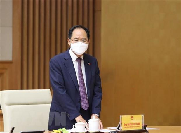 Đại sứ Hàn Quốc tại Việt Nam Park Noh Wan phát biểu. (Ảnh: Dương Giang/TTXVN)